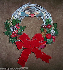 CHRISTMAS GRAPEVINE SMALL WREATH WITH ANGEL FOLK ART DECORATIONS SO PRETTY!