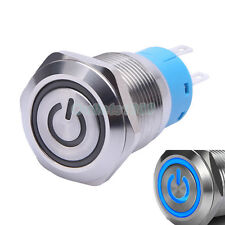 19mm 12V Blue LED Latching Push Button Switch 1NO1NC Stainless Steel Waterproof