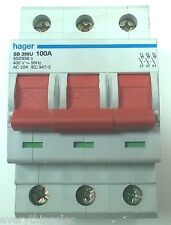 Hager SB399U 100 AMP TRIPLE POLE MAIN SWITCH AC22A IEC 947 400V
