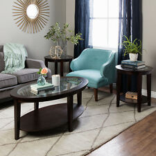 Moder Brown 3-Piece Oval Wood & Glass Coffee and End Table Living Room Set