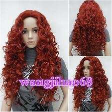 New Ladies fashion Long Curly Dark Red Natural Hair Women's Wigs + wig cap