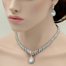 18K White Gold GP Clear Zirconia CZ Necklace Pendant Earrings Jewelry Set 06696