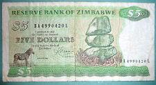 ZIMBABWE 5 DOLLARS NOTE, P 2 c, ISSUED 1983 ,SIGNATURE 2