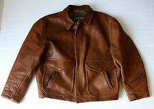 "BLOUSON CUIR MENS ""L"" CHEVIGNON VINTAGE BROWN LEATHER FLIGHT FLY JACKET"