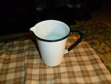 Vintage White Black Rim Porcelain Enamel Medical PITCHER MEASURE CUP Rare !
