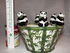 Beautiful Ceramic 6 Lucky PANDA & BAMBOO Flower Pot Planter