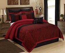 Gothic Bedding Vampire Black & Burgundy Branch 8 pc Comforter Set Queen ~  NEW