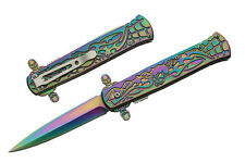 Premier Skull Talon Assisted Opening Folding Knife TI Coated Rainbow SW-310RB