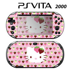 Vinyl Decal Skin Sticker for Sony PS Vita Slim 2000 Cute Kitty Pink Strawberry