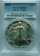 PCGS 1987 Silver AMERICAN EAGLE Dollar $1 Coin MS69 1oz .999 Ag USA Mint BU Blue