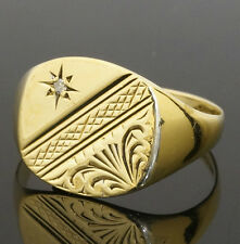 9ct Yellow Gold & Diamond Patterned Head Signet Ring (Size T 1/2) 13x13mm Head