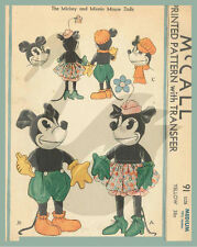 """Reproduction Vintage Mickey & Minnie Mouse 13.5"""" & 18"""" Doll Sewing Pattern M91"""