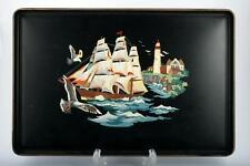 Tin Tray with Sailing Ship and Lighthouse Hand Painted Black Vintage Tole Style