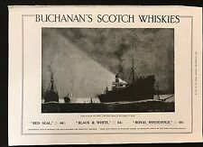 1915 Original Full Page Ad, Buchanan's Scotch Whiskies, Food Ships on the Thames
