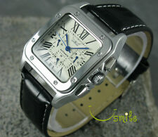 6 Hands Luxury Square Mens Automatic Mechanical Leather Sport Watch WEEK DATE