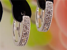 Gemma Fashion Silver Plated Classic Earrings Women CZ Zircon Beautiful Hoop