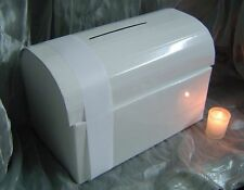 White Wedding Wishing Well Money Box Chest For Envelopes & Cards + 2m Ribbon