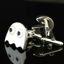 AWESOME CLASSIC WHITE PAC MAN CUFFLINKS 80S RETRO ARCADE GAMER CHRISTMAS GIFT