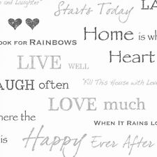Fine Decor Wall Words Live Love Laugh Wallpaper White / Grey / Charcoal