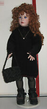 "29"" Red Haired Porcelain Doll in Black Outfit w/  Stand Young Maureen"