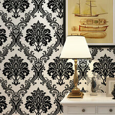Vintage Luxury Classic Black Damask on White Background Flocking Wallpaper Roll