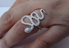 925 STERLING SILVER LADIES DESIGNERS SNAKE RING W/1.50CT DIAMONDS /SZ 5,6,7,8,9