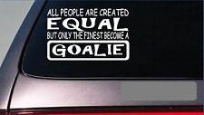 """Goalie equal Sticker *G657* 8"""" vinyl soccer hockey puck ball game uniform gear"""