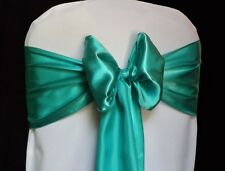 "100 Teal Satin Chair Cover Sash Bows 6"" x 108"" Banquet Wedding Made in USA"