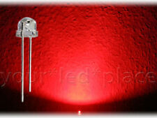 50 x LED 5mm straw hat - ROT, 90-120° 1000mcd Kurzkopf Flachkopf red
