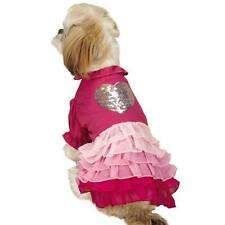 East Side Collection Glimmer Ruffle Dog Puppy Pet Dress Pink Sequins Size:SMALL