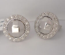 NEW $1795 Charriol Diamond Halo Earrings White Gold Stud Facet Round Flamme Blan