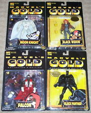 TOY BIZ MARVELS GOLD BLACK PANTHER MOON KNIGHT FALCON BLACK WIDOW NEW IN SHIPPER