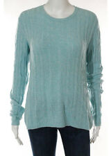 PETER MILLAR Light Blue Cashmere Cabel Knit Scoop Neck Long Sleeve Sweater Sz M