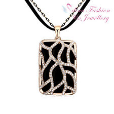 Leather Chain With Czech Crystals Magic Retro Square Shaped Black Long Necklace