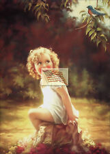 REPRINT PICTURE of older GIRL WATCHING BLUEBIRD WHILE SITTING ON A ROCK 5x7