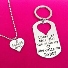 2PCS Silver Heart Dog Tag Daddys Girl Valentine's day Gift Necklace Keychain Set