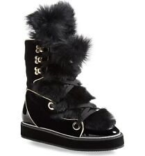 Nicholas Kirkwood Women's Black Polly Neige Shearling Trimmed Snow Boots Size 35