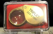 U.S SELLER JEWELERS EYE LOUPE TRIPLET GOLD 30X21mm MAGNIFIER COIN GRADING + CASE