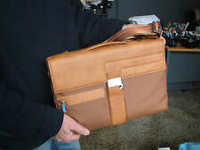 Piquadro Lt Tan Icon Small briefcase w/ organizd panel,laptop sleeve CA1559IC/CU