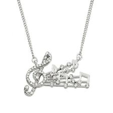w Swarovski Crystal Treble Clef Music Notes Musician Musical Pendant Necklace