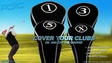 DRIVER NEW GOLF CLUB HEAD COVERS BLACK FULL COMPLETE 1 3 5 X WOOD HEADCOVER SET