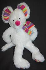 """White Mouse Multi Colored Ears Scarf Feet Lovey TOY 14"""" Plush Stuffed Animal"""