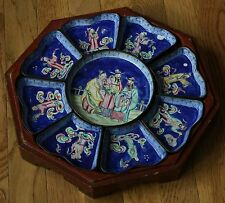 Antique Chinese Enameled Sweet Meat Set 8 Immortals and 3 Star Gods Fu Lu Shou