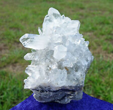 Ultra CLEAR QUARTZ Crystal Cluster Points with Carved Wooden Base for Display
