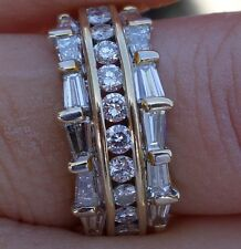 1.50ctH-I/VS-Si1 Baguette diamond round channel set wedding band right-hand ring