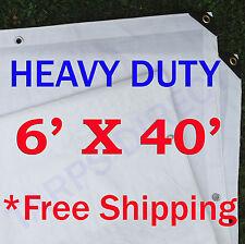 6' x 40' Heavy Duty White Tarp