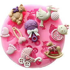 Baby Shower Silicone Fondant Cake Mould Mold Chocolate Baking Sugarcraft DecorFG