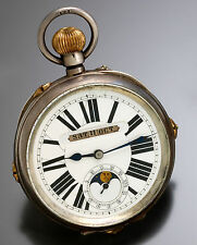 Large Oversized (68mm) Moon Phase, Day, Date & Month Swiss Pocket Watch CA1890s