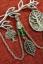 TREE OF LIFE Brooch Pewter Crystal Silver Pin Leaf Celtic Wicca Pagan Nature