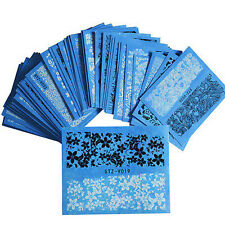 48 Sheets Acrylic Water Transfer Stickers Flowers Lace DIY Nail Art White/Black